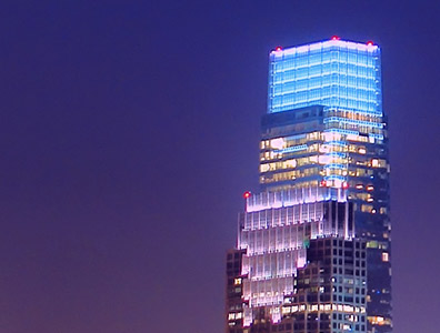 LED lighting on Comcast Building