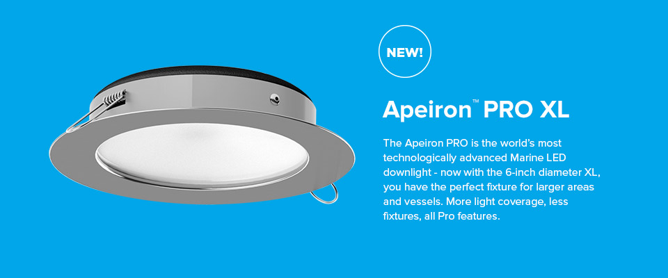 Now with the 6-inch diameter XL, Apeiron PRO XL is the perfect fixture for larger areas and vessels.